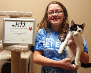 Anna J. was awarded the Wisconsin Junior Heroes Award through Badger Rescue Transport Service in January 2016 for her outstanding volunteer work at SWCHS!